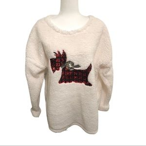 Time and Tru Sequin Scotty Dog Sweater, XL, White